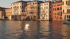 Navigazione della barca lungo Grand Canal al tramonto video d archivio