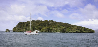 Navigazione della barca a vela dopo Stewart Island, Nuova Zelanda Fotografie Stock