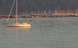 Navigazione della barca a vela vicino alla costa di Vigo, Spagna fotografia stock libera da diritti