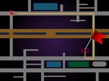 Navigazione della mappa di GPS Fotografie Stock Libere da Diritti