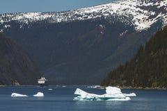 Navigazione della nave da crociera in un fiordo fra l'alto mounta Fotografia Stock