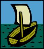 Navigazione della piccola nave nei mari Fotografie Stock Libere da Diritti