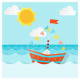 Navigazione di carta variopinta della nave sul mare illustrazione di stock