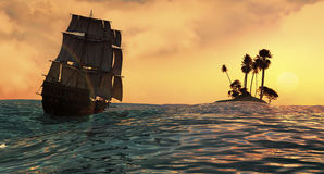 Navigazione e tramonto Fotografie Stock Libere da Diritti