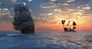 Navigazione e tramonto Immagini Stock Libere da Diritti