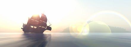 Navigazione e tramonto Fotografia Stock