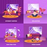 Navigazione in Internet stabilita, rilassamento, video giochi illustrazione vettoriale