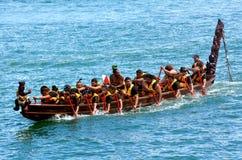 Navigazione maori di eredità di waka a Auckland, Nuova Zelanda Fotografia Stock