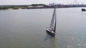 navigazione metraggio Spedisca gli yacht con le vele bianche nel mare aperto aereo video d archivio