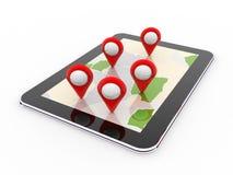 Navigazione mobile dei gps, destinazione di viaggio, posizione e concetto di posizionamento, rappresentazione 3d illustrazione di stock