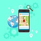 Navigazione mobile del globo dei gps della mappa di mondo del telefono cellulare Immagine Stock