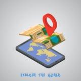 Navigazione mobile di GPS con la compressa o lo smartphone Immagine Stock