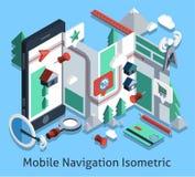 Navigazione mobile isometrica Immagine Stock