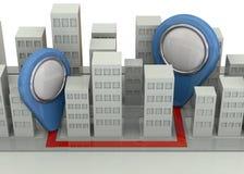 Navigazione nel concetto della città - 3D Immagini Stock Libere da Diritti