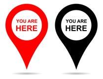 Navigering för stift för vektorpekareöversikt Du är här tecknet stock illustrationer
