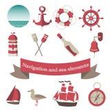 Navigering och havssymboler och beståndsdelar med en anch Arkivbild