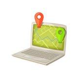 Navigeringapplikation på bärbar datordatorskärmen Översikt med GPS lägefläcken som visas i bärbar PCbildskärm Deliveri stock illustrationer