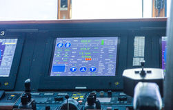Navigeringskärm på kryssningskeppet Arkivfoton
