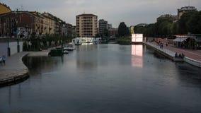 Navigli在米兰在黎明 库存照片