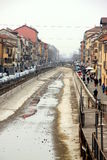 Navigli in Milan. A view of the Naviglio Grange in Milan, Italy Royalty Free Stock Photography