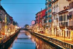 Naviglio重创的运河在米兰,意大利 免版税库存图片