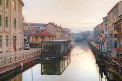 The Naviglio Grande canal in Milan, Italy Royalty Free Stock Image