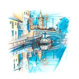 Naviglio Grande canal in Milan, Lombardia, Italy. Bridge across the Naviglio Grande canal at sunrise, Milan, Lombardia, Italy. Sketch made liner and markers Stock Images