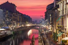Naviglio Grande canal in Milan, Lombardia, Italy Royalty Free Stock Images