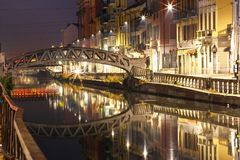 Naviglio Grande canal in Milan, Lombardia, Italy Stock Photos