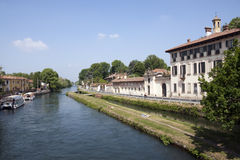 Naviglio Grande canal , Milan province Royalty Free Stock Photo