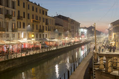 Naviglio  Grande at dusk with Xmas lights, Milan, Italy Royalty Free Stock Photography