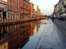 Naviglio grande en Milano Imágenes de archivo libres de regalías