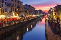 Naviglio Grande kanał w Mediolan, Lombardia, Włochy Zdjęcie Stock