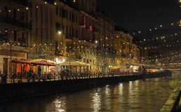 Naviglio grande, Lombardy. Naviglio grande in Milan during Christmas Royalty Free Stock Images