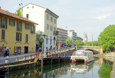 Naviglio Grande. A view of the Naviglio Grande in Milan, Italy Royalty Free Stock Images