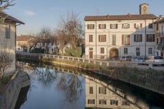 Naviglio Martesana, Gorgonzola, Italien lizenzfreie stockfotos