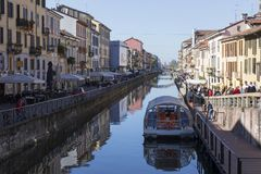 Naviglio. MILAN, ITALY - OCTOBER 2017; View of the Naviglio Grande Royalty Free Stock Images