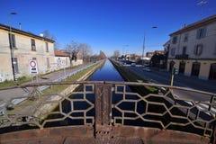 Naviglio Pavese, Italien, Milan Arkivfoton