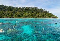 Naviguant au schnorchel chez Koh Rok, mer d'Andaman, THAÏLANDE Photo libre de droits