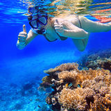 Naviguer au schnorchel dans l'eau tropicale Images stock