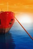 Navio amarrado no surise Fotografia de Stock Royalty Free
