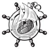 Navio & wheel_engraving ilustração royalty free