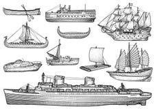 Navio, barco, coleção, ilustração, desenho, gravura, tinta, linha arte, vetor ilustração stock