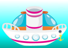 Navio bonito dos desenhos animados Imagens de Stock Royalty Free