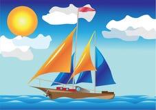 Navio com as velas no lado de mar Ilustração Stock