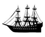 Navio com a silhueta de madeira do vetor das velas Fotos de Stock