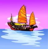 Navio com uma vela. ilustração royalty free