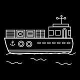 Navio da barca da carga com recipientes Fotografia de Stock