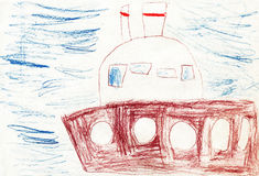 Navio da pintura das crianças no mar Fotos de Stock Royalty Free