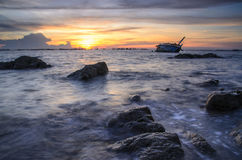 Navio das ruínas do por do sol Fotografia de Stock Royalty Free